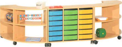 Viertelkreisregale und Materialcontainer, fahrbar