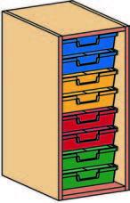 Materialcontainer-Aufsatz 1-reihig, 1 Modulbox mit 8 flachen Schubladen