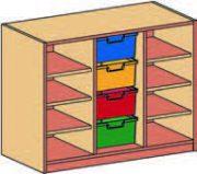 Materialcontainer-Aufsatz dreireihig, 4 tiefe Schubladen