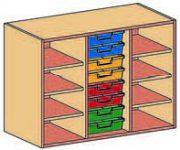 Materialcontainer-Aufsatz dreireihig, 8 flache Schubladen