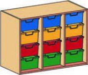 Materialcontainer-Aufsatz dreireihig, je 4 tiefe Schubladen