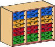 Materialcontainer-Aufsatz dreireihig, je 8 flache Schubladen