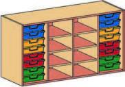 Materialcontainer-Aufsatz vierreihig, mit 2 x 8 flachen Schubladen