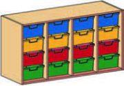 Materialcontainer-Aufsatz vierreihig, mit je 4 tiefen Schubladen