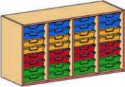Materialcontainer-Aufsatz vierreihig, mit je 8 flachen Schubladen