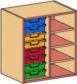Materialcontainer-Aufsatz zweireihig, 8 flache Schubladen