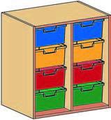 Materialcontainer-Aufsatz zweireihig, jeweils 4 tiefe Schubladen