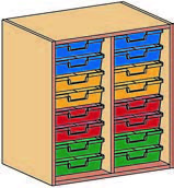 Materialcontainer-Aufsatz zweireihig, jeweils 8 flache Schubladen