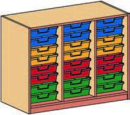 Materialcontainer dreireihig, je 8 flache Schubladen