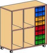 Materialcontainer fahrbar 3 reihig 1 Modulbox mit 8 flachen Schubladen