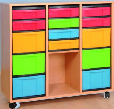 Materialcontainer fahrbar, 3-reihig, l+r mit 3 hohen und 2 flachen, m 4 flache Schubladen