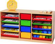Materialcontainer links und rechts mit je 5 Flachubladen mittig 4 hohe Schubladen