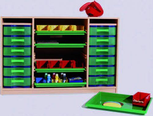 Materialcontainer links und rechts zwei Modulboxen mit je 6 flachen Schubladen mittig 5 Flachschubladen