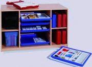 Materialcontainer mittig mit 5 Flachschubladen