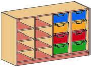 Materialcontainer vierreihig, mit 2 x 4 tiefen Schubladen