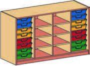 Materialcontainer vierreihig, mit 2 x 8 flachen Schubladen