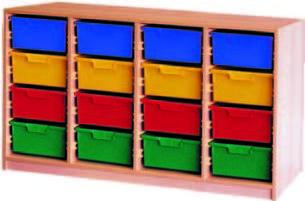 Materialcontainer vierreihig, mit je 4 tiefen Schubladen