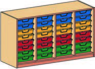 Materialcontainer vierreihig, mit je 8 flachen Schubladen