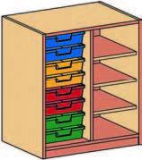 Materialcontainer zweireihig, 8 flache Schubladen
