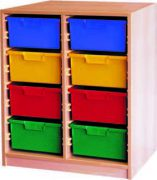 Materialcontainer zweireihig, je 4 tiefe Schubladen