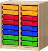 Materialcontainer zweireihig, je 8 flache Schubladen