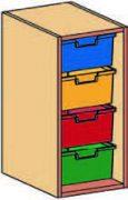 Materialcontaineraufsatz 1-reihig, 1 Modulbox mit 4 tiefen Schubladen