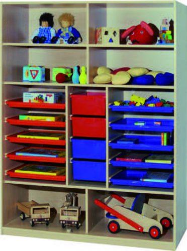 Materialregal link+rechts je 5 Flachschubladen mittig 4 hohe Schubladen