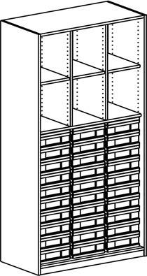Materialregal mit 3 Modulboxen mit je 10 flachen Schubladen