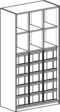 Materialregal mit 3 Modulboxen mit je 5 hohen Schubladen