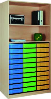 Materialregal mit 3 x 10 flachen Schubladen