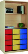 Materialregal mit 3 x 4 hohen Schubladen