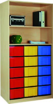 Materialregal mit 3 x 5 hohen Schubladen