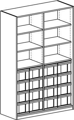 Materialregal mit 4 Modulboxen mit je 4 hohen Schubladen