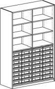 Materialregal mit 4 Modulboxen mit je 8 flachen Schubladen
