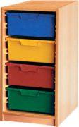 Materialcontainer 1-reihig, 1 Modulbox mit 4 tiefen Schubladen