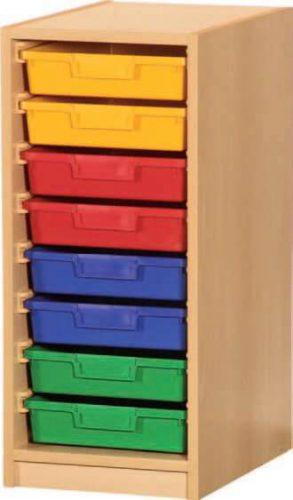 Materialcontainer 1-reihig, 1 Modulbox mit 8 flachen Schubladen