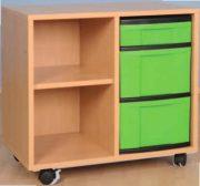 Materialcontainer 2 reihig mit 2 hohen und 1 flachen Schublade