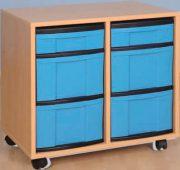 Materialcontainer 2 reihig mit je 2 hohen und 1 flachen Schublade
