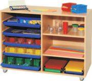 Materialcontainer auf Rollen zweireihig mit 5 Flachschubladen