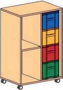Materialcontainer fahrbar 1 Modulboxe mit 4 tiefen Schubladen