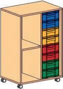 Materialcontainer fahrbar 1 Modulboxe mit 8 flachen Schubladen