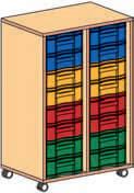 Materialcontainer fahrbar 1 Modulboxen mit 8 flachen Schubladen