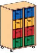 Materialcontainer fahrbar 2 Modulboxen mit 4 tiefen Schubladen