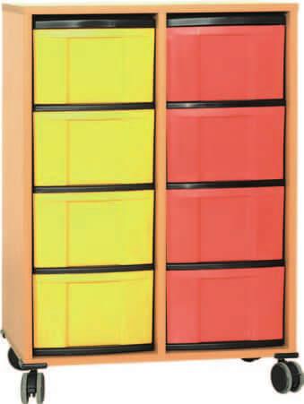 Materialcontainer fahrbar 2 Modulboxen mit je 4 hohen Schubladen