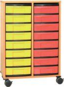 Materialcontainer fahrbar 2 Modulboxen mit je 8 flachen Schubladen