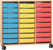 Materialcontainer fahrbar 3 Modulboxen mit je 8 flachen Schubladen