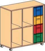 Materialcontainer fahrbar 3 reihig 1 Modulbox mit 4 tiefen Schubladen