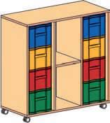 Materialcontainer fahrbar 3 reihig 2 Modulboxen mit je 4 tiefen Schubladen