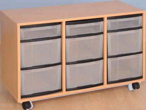 Materialcontainer fahrbar, 3-reihig, 3 Modulboxen mit je 2 hohen und 1 flachen Schublade