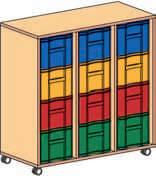 Materialcontainer fahrbar 3 reihig 3 Modulboxen mit je 4 tiefen Schubladen
